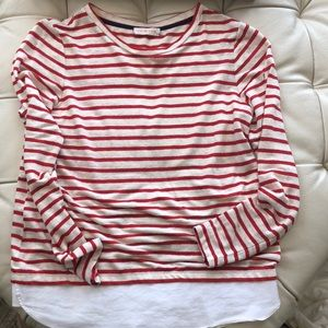 Tory Burch Red Striped Long Sleeve Shirt